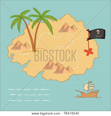 Hand Drawn Vector Illustration - Treasure Map And Design Elements (mountains,   Palm,ship, Flag).