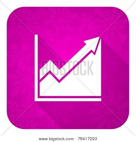 histogram violet flat icon, christmas button, stock sign