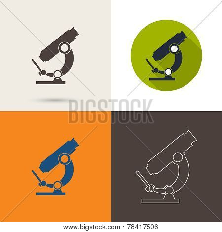 Vector icons with a microscope