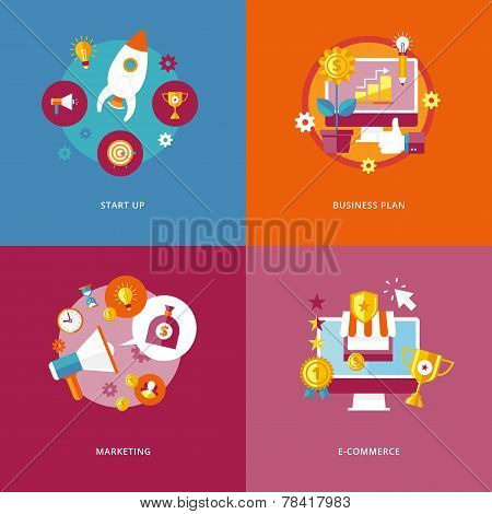 Set of flat design concept icons for business and marketing. Icons for start up, business plan, mark