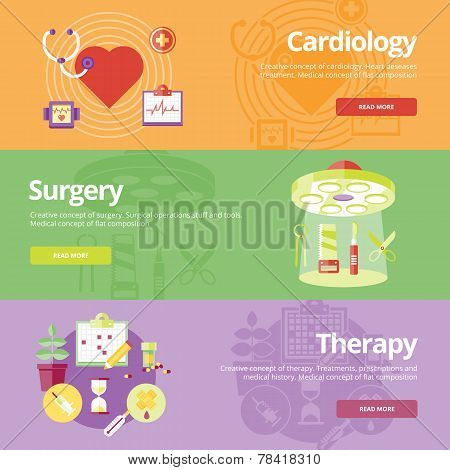Set of flat design concepts for cardiology, surgery, therapy. Medical concepts for web banners and p