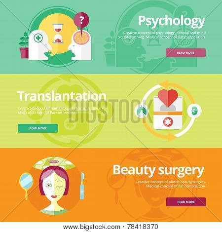 Set of flat design concepts for psychologyst, transplantation, beauty surgery. Medical concepts for