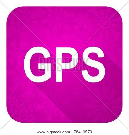 gps violet flat icon, christmas button