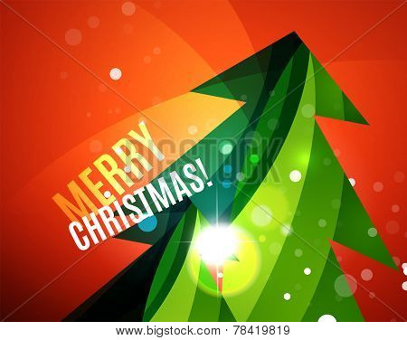 Colorful bright Chrismas card, modern abstract template