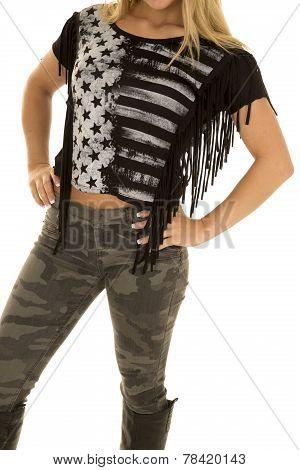 Woman Black Star Shirt Body