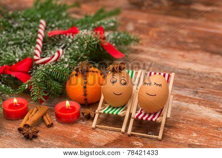 funny eggs, Christmas, mandarin, and candles