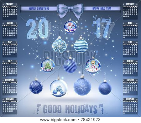 Calendar With Christmas Snow Glass Crystal Balls On 2017 In Vector
