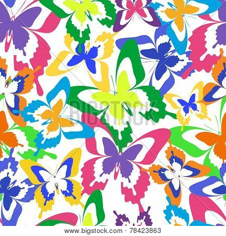Background Seamless Pattern With Colorful Butterflies
