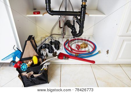 Plumbing Tools On The Kitchen.