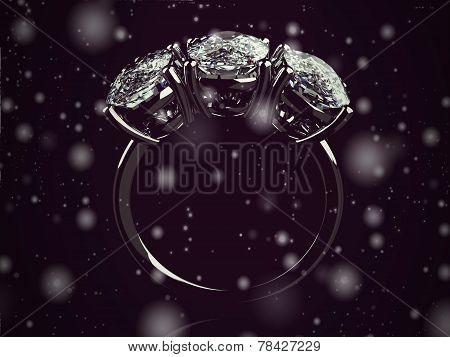 Gold Wedding Ring On Background ( Vintage Style)