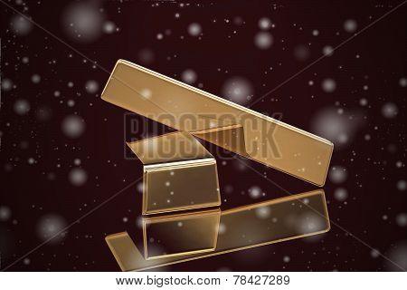 Gold Bar On Black Background (high Resolution 3D Image)