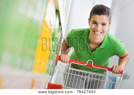 Enjoying Shopping At Supermarket