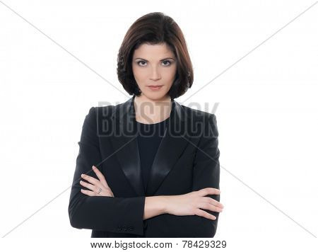 one beautiful serious  business woman portrait arms crossed in studio isolated on white background