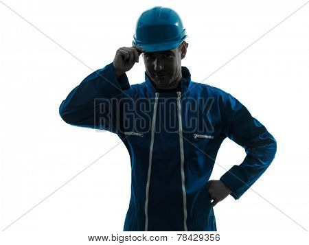 one  man construction worker saluting smiling silhouette portrait in studio on white background