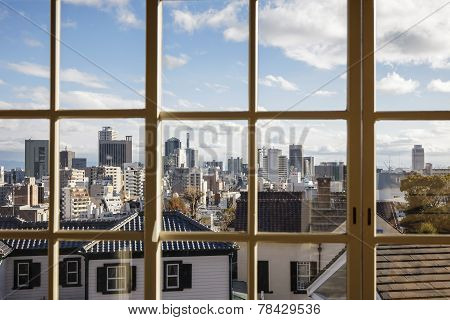 Japan Landscape town city view from window