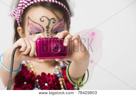 Little Girl Taking Snapshot Picture