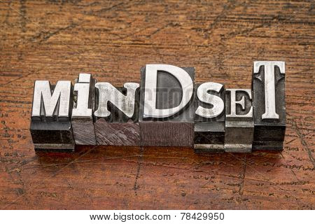 mindset  word in mixed vintage metal type printing blocks over grunge wood