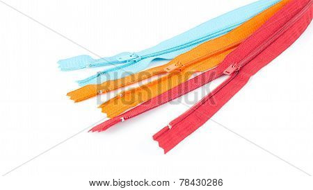 Colorful Unlock Zipper  On White Background