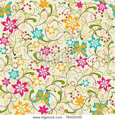 Butterfly Flower Seamless Pattern - Illustration