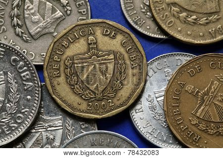Coins of Cuba. Coat of arms of Cuba depicted in the Cuban peso coins.