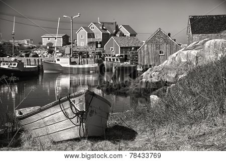 Sepia Peggy's Cove, a small village on Nova Scotia's coast.