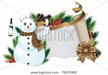 Snowman With Brown Scarf