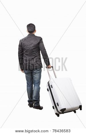 Rear View Of Young Man And Pulling Belonging Luggage Walking To Forward Isolated White Background Us