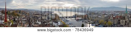 Panoramic Picture Of Zurich And Lake Zurich (switzerland).