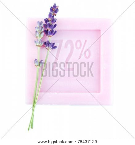 Bar of natural soap with fresh lavender isolated on white