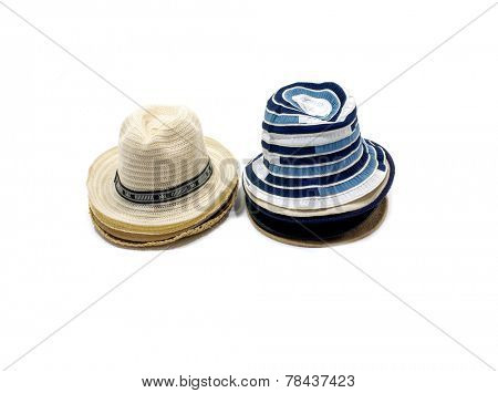 fedora hat and straw hat isolated on white