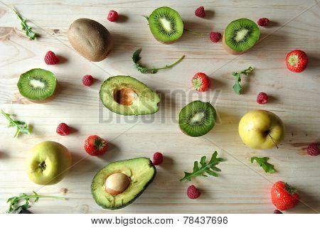 Aerial Photo Of Strawberries, Blackberries, Avocado