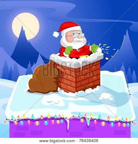 Santa Claus entering through fireplace chimney on Christmas