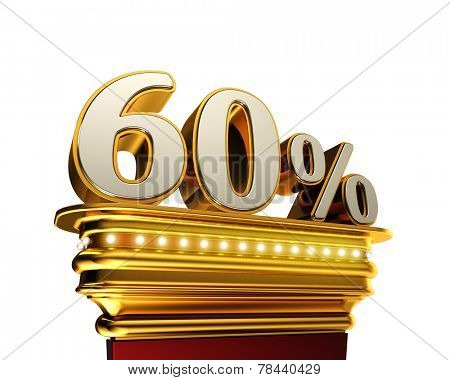 Sixty percent figure on a golden platform with brilliant lights over white background