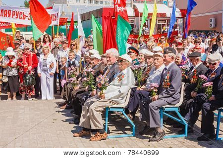 Unidentified Veterans Listen To Congratulations During The Celebration Of Victory Day. Gomel, Belaru