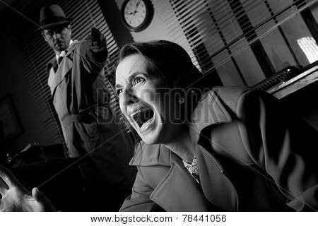 Detective Pointing A Gun To A Terrified Woman