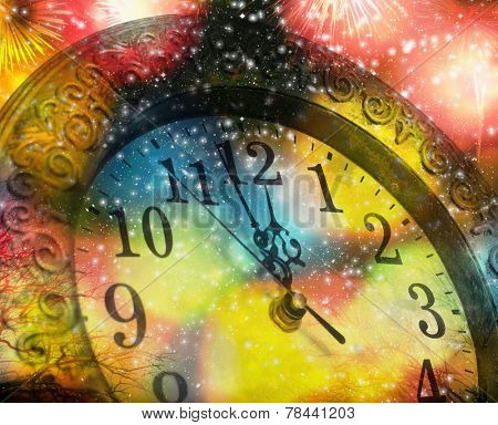 New Year's at midnight - old clock on colorful bokeh background