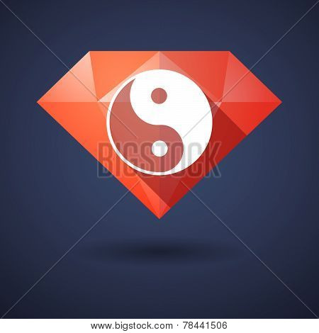 Diamond Icon With A Ying Yang