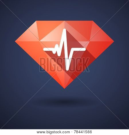 Diamond Icon With A Heart Beat Sign