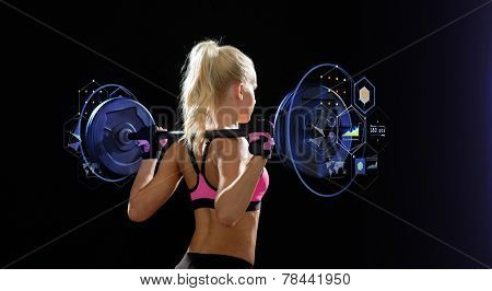 fitness, sport and dieting concept - sporty woman exercising with barbell from back