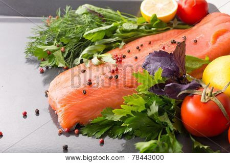 Salmon With Seasoning On A Pan