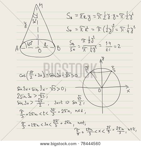 Vector pattern with mathematical formulas