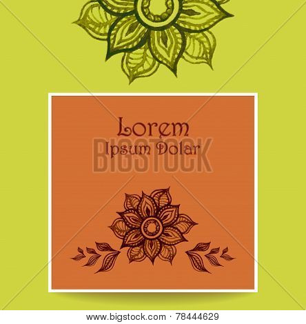 Template with water color abstract flowers in green brown