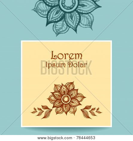 Template with water color abstract flowers in beige blue