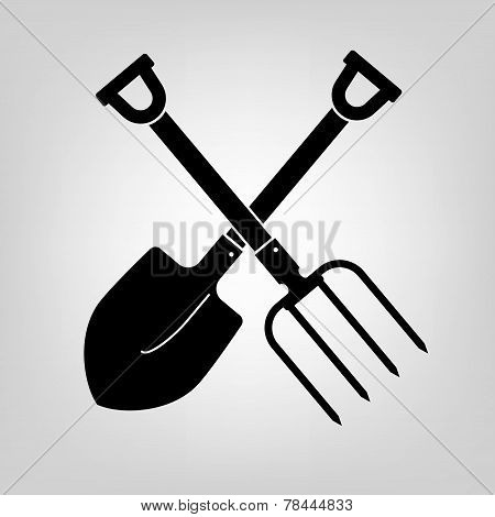 shovel and pitchfork icon