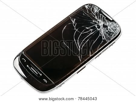 Smart Phone With Cracked Broken Screen Isolated Over White Background