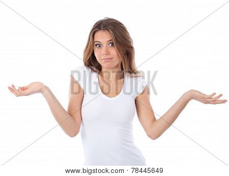 Shrugging Young Woman In Doubt