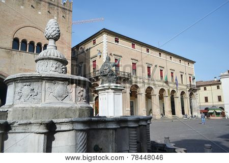 Old Medieval Buildings On Piazza Cavour