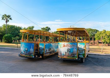 Empty Tourist Busses In Sukhothai Historical Park.