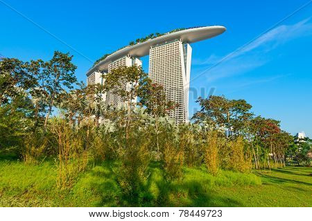 Marina Bay Sands Back View From Gardens By The Bay