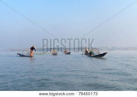 Traditional Leg Rowing Fishermen In Early Morning